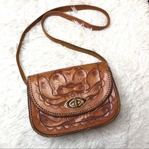 Hand Tooled Leather Embossed Shoulder Bag